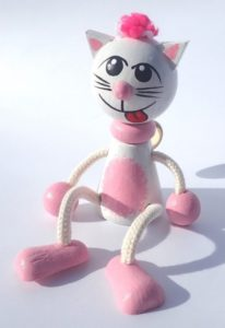 Ružová mačička hračky na pružine | drevené hračky