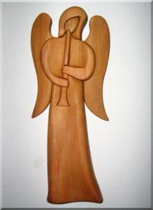 Sošky, Anjel s trubkou II. , 24 cm | drevený anjel strážny