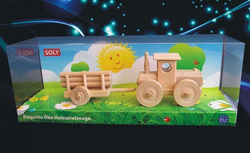 Lesný traktor s vlečkou | drevená hračka | drevený darček