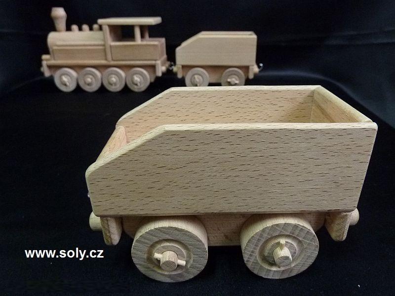 Drevený vagón k hračke lokomotíva, vlak