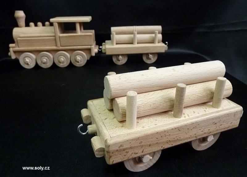 Vagón s drevom k parnej lokomotíve | drevené hračky