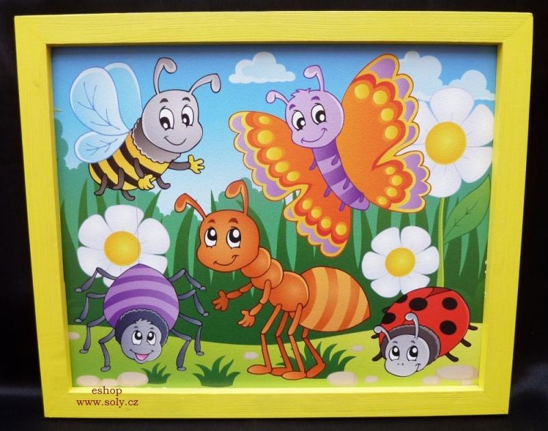 Rozprávkový hmyz   detské maľované obrázky na stenu  včela, motýľ, mravec, lienkane-zviratka-motyl-mravenec-beruska-vcela
