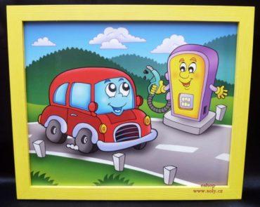 Autíčko benzinka, čerpacia stanice | detské maľované obrázky na stenu