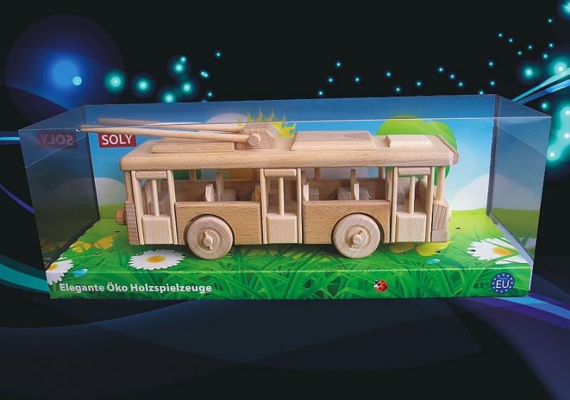 Trolejbus drevená hračka, drevené darčeky