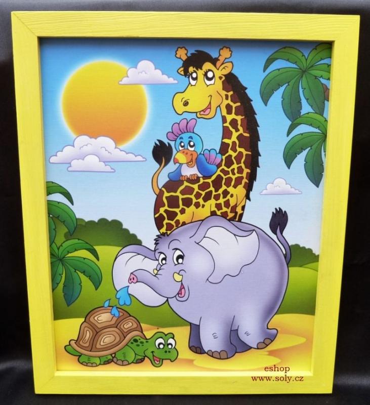 Zvieratká z Afriky | detské obrázky na stenu | žirafa, slon, papagáj, korytnačka