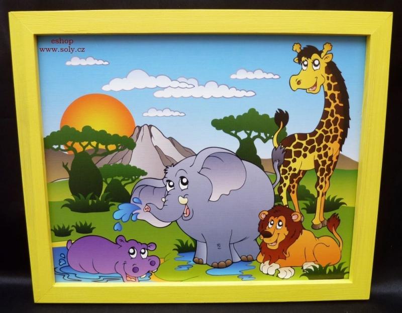 Africké zvieratká | detské maľované obrázky na stenu | žirafa, slon, lev, hroch