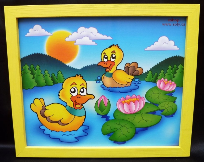 Kačičky, kačička | detské maľované obrázky na stenu | rybník, jazero