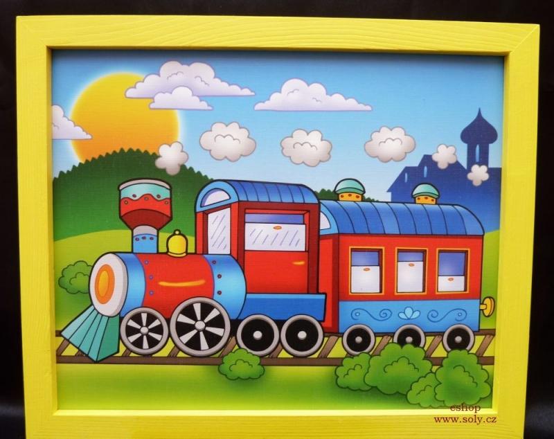 Vláčik, vlak, lokomotíva, rušen, železnice, koľaje| detské maľované obrázky na stenu