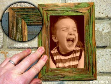 10x15 cm zelený | drevený retro fotorámček, rám, rámčeky, fotorám
