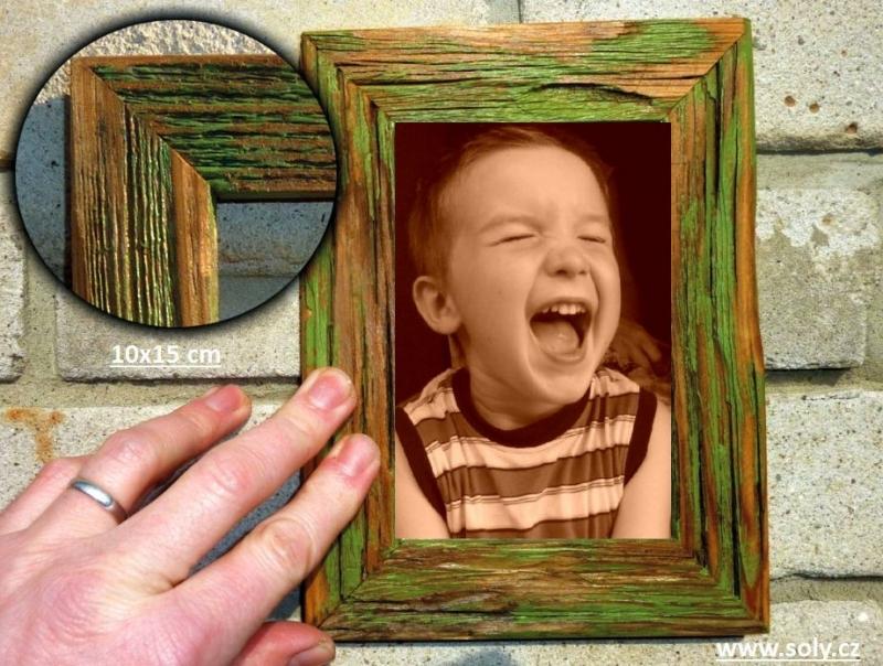10×15 cm zelený | drevený retro fotorámček, rám, rámčeky, fotorám