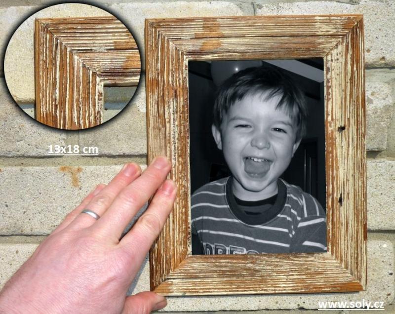 13×18 cm biely | drevený retro fotorámček, rám, rámčeky, fotorám-na-obrazy