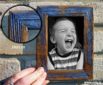 10x15 cm modrý | drevený retro fotorámček, rám, rámčeky, fotorám