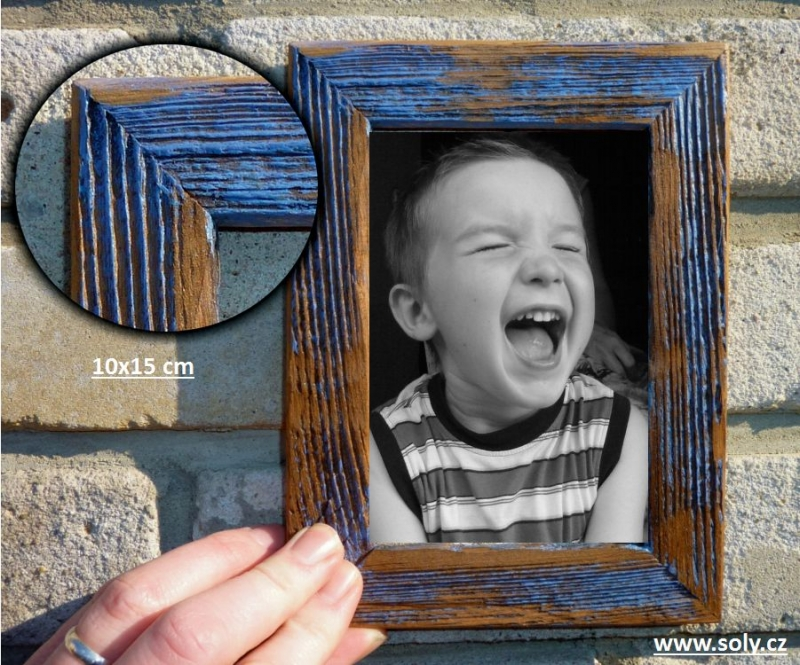 10×15 cm modrý   drevený retro fotorámček, rám, rámčeky, fotorám