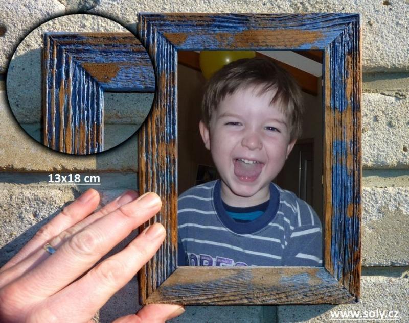 13×18 cm modrý | drevený retro fotorámček, rám, rámčeky, fotorám