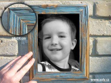 18x24 cm modrá | drevený retro fotorámček, rám, rámčeky, fotorám