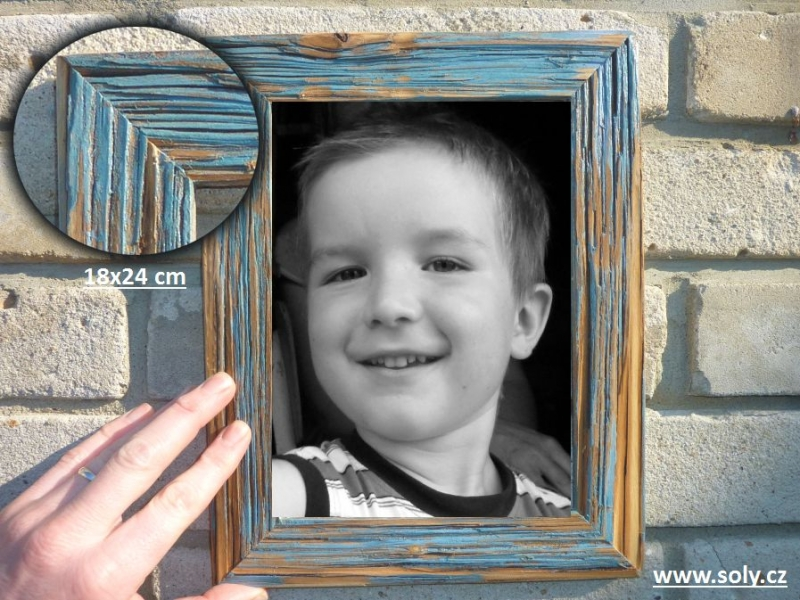 18×24 cm modrá | drevený retro fotorámček, rám, rámčeky, fotorám