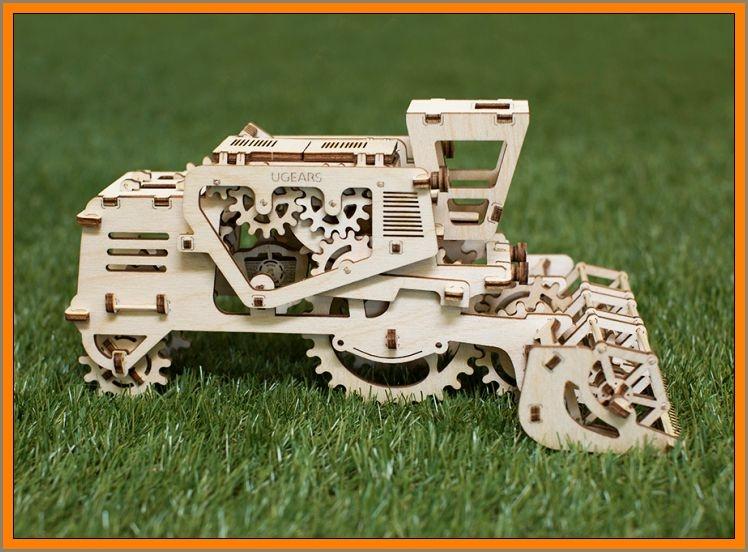 Kombajn mechanické puzzle, 3D technická stavebnice, drevená hračka