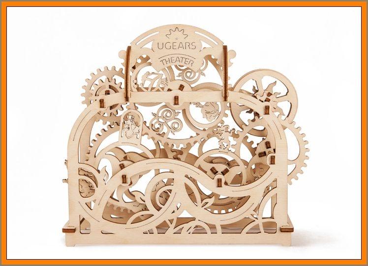 Divadlo mechanické puzzle, 3D stavebnice, drevená hračka