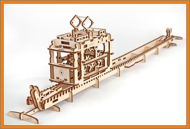 32Električka mechanická technické stavebnice, drevené hračky