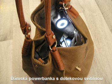 Dámska lampička svietidlo, baterka do tašky s 500 mAh PowerBank