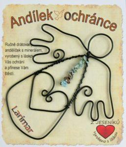 Drôtovanie dekorácie anjela, kameň LARIMAR | anjel dobry ochranca