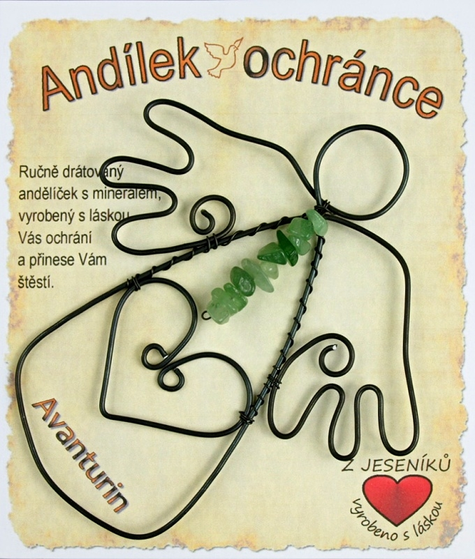 Drôtený anjel kameň Avanturin