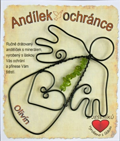 Drôtene anjeli, anjelíček ochranca, kameň olivín