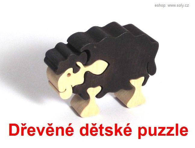 Čierna ovečka drevené detské skladacie puzzle | drevené hračky