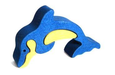 Delfín drevené detské skladacie puzzle | drevené hračky
