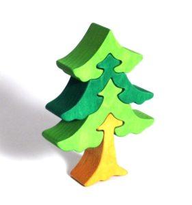 Stromček smrek drevené detské skladacie puzzle | drevené hračky