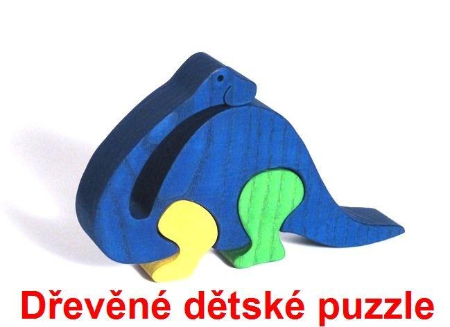 Brontosaurus drevené detské skladacie puzzle | drevené hračky