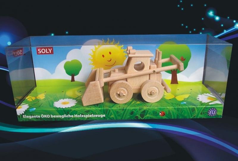 Poľnohospodársky nakladač Bobík, buldozer, drevená hračka