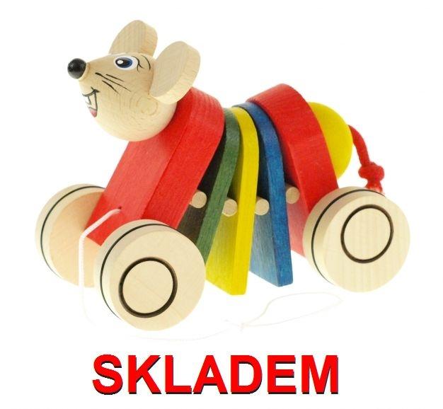 Ťahacia hračka drevená myš, drevená hračkaka
