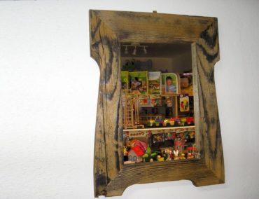 Chalupárske zrkadlo na stenu, drevený naturálny retro rám