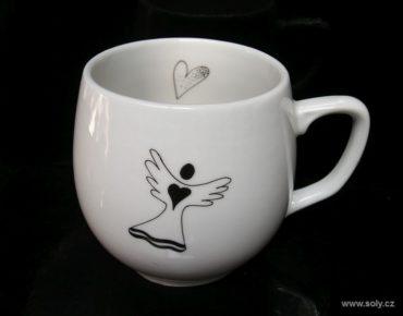 Porcelánový hrnček, hrnček motív anjel pre kávičku, čaj 0,3l
