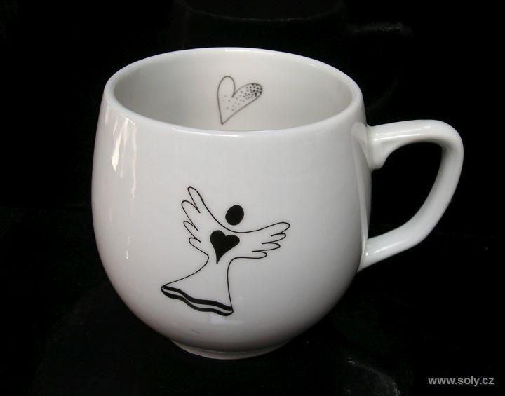 Porcelánový hrnček, hrnček motív anjel pre kávičku, čaj 0,3lem