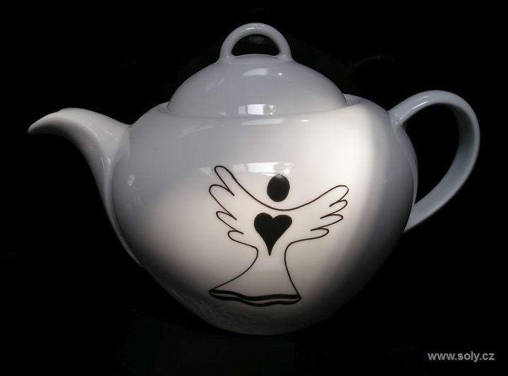 Porcelánová kanvica 1,2 l s anjelom ochrancom | konvica na čaj