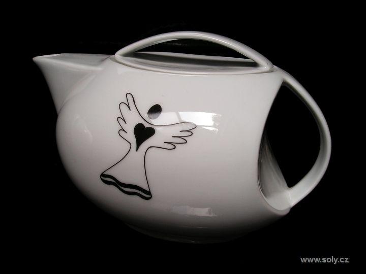 Porcelánová konvička na čaj 1 liter s motívom anjelika, anjela