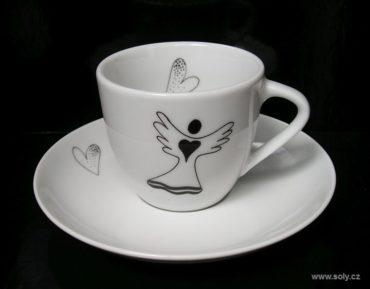 Porcelánová šálka s tanierikom 0,1l s anjel motív