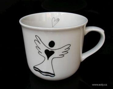 Veľký biely porcelánový hrnček 0,5 l na čaj s anjel motív