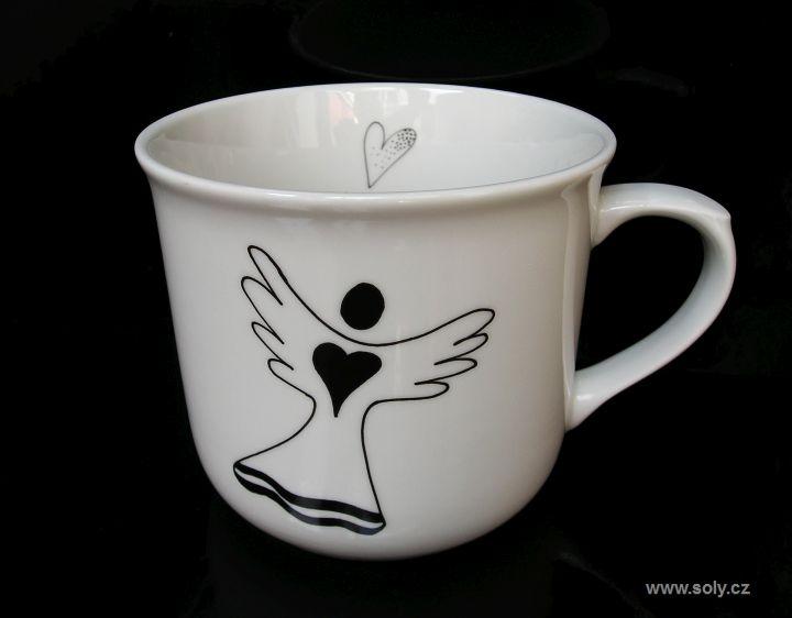 Veľký biely porcelánový hrnček 0,5 l na čaj s anjel motívdel