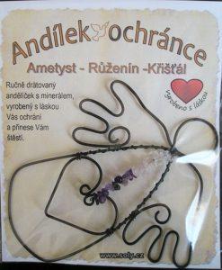 Minerálné kamene AMETYST-RUŽENÍN-KRIŠTÁĽ ochranný anjel drotovaný