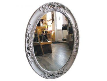 Velké oválne masivné biele zrkadlo, zrkadlá na stenu