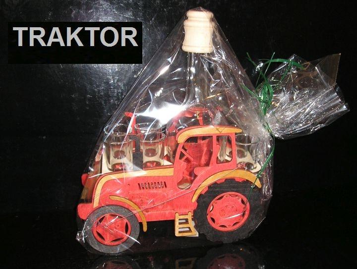 Darčekové fľaše traktor a sklo na alkohol pre traktoristu