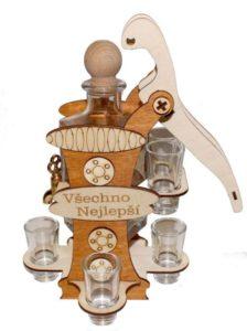 Darčekové fľaša na alkohol a 6 pohárov | pumpa s kohútikom