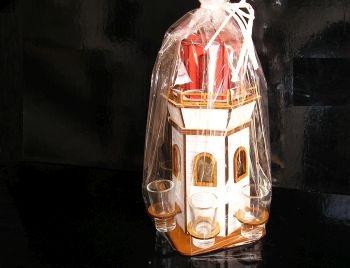 Darček maják flaša, sklo, 6x sklenička