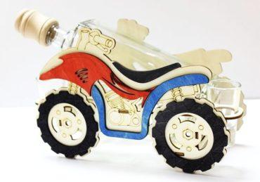 Darčeková fľaša, sklo darčeky, štvorkolka, motorka