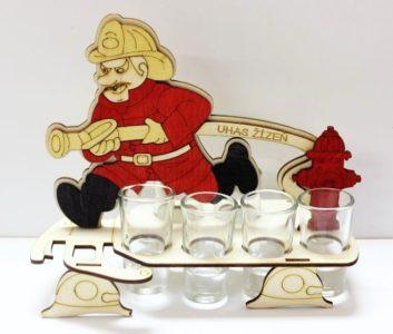 Darčekové sklo, fľaša na alkohol   hasič   požiarnik