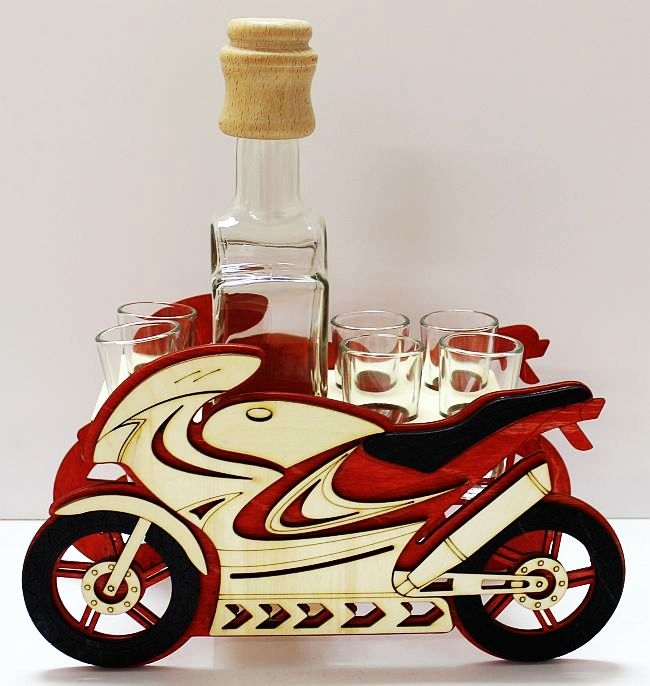 Darčekové sklo | alkohol fľaša | športová motorka