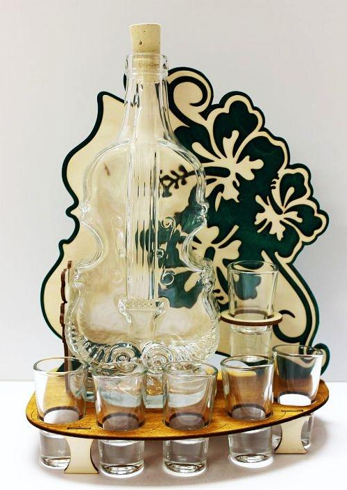 Darček sklo | fľaša na alkohol husle, VIOLA
